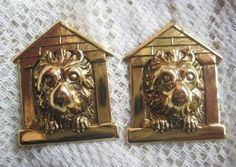 2 Vintage Brass Dog in Dog House Findings by StarPower99 on Etsy, $4.20