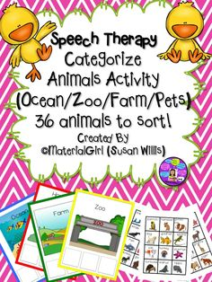 Speech Therapy CATEGORIZE ANIMALS ACTIVITY (Zoo, Farm, Ocean, Home/Pets) with 4 category boards and 36 animals. Child sorts animals onto Category Board which has 3 blank squares to place animal choices. Great for special education or Speech room. Preschool Speech Therapy, Speech Therapy Activities, Speech Language Pathology, Language Activities, Speech And Language, Learning Activities, Receptive Language, Animal Categories, Therapy Ideas