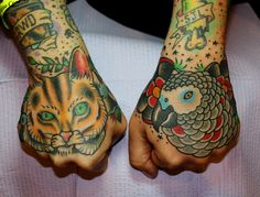 cat parrot hand tattoos myke chambers by Myke Chambers Tattoos, via Flickr