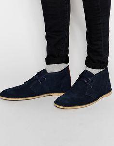 Stiefel von Ben Sherman aus Wildleder Klassisches Design Schnürung gerundete Zehenpartie strukturiertes Profil Profil mit Lederschutz Obermaterial aus 100% Leder