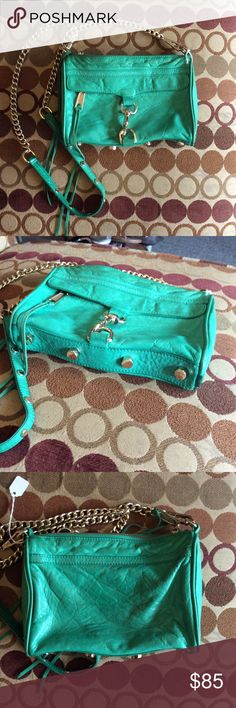 REBECCA MINKOFF Green Leather Gold Hardware BAG! REBECCA MINKOFF Green Leather Gold Hardware BAG!  Bag measures 9 inches long by 6 inches tall and 2 inches deep Crossbody strap hangs down about 20 to 22 inches from shoulder. Overall the bag is pretty worn making a leather very soft and a bit distressed looking. Item number 1099–319 Rebecca Minkoff Bags Crossbody Bags