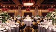 Summit Ballroom set for wedding dinner and reception at Ameristar Casino Resort Spa in Black Hawk, Colorado.