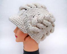 Cable Knit Cap  Women's Newsboy Hat  Cream Hat by BettyMarieJones