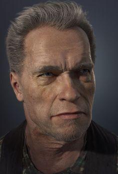 Arnold Schwarzenegger cg portrait, Gerard Kravchuk on ArtStation at https://www.artstation.com/artwork/8OywQ