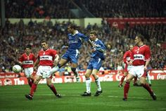 29 March 1998: ROBERTO DI MATTEO scores the second goal against Middlesbrough in the Coca-Cola Cup Final at Wembley. CHELSEA won the match 2-0 after extra time...
