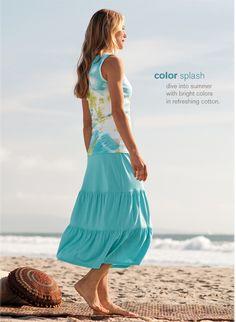 J.Jill Kaleidoscope Cotton Ribbed Tank in Capri and Tiered Cotton Knit Skirt in Capri.