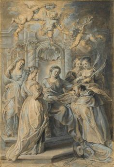 Sir Peter Paul Rubens (Siegen Antwerp) extensively reworking a drawing attributed to Hans Witdoeck Saint Ildefonso receiving the Chasuble from the Virgin Peter Paul Rubens, Miguel Angel, Anthony Van Dyck, Principles Of Art, Ppr, Albrecht Durer, Caravaggio, Old Master, Renaissance Art