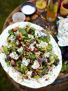 Roquefort salad | Cheese Recipes | Jamie Oliver Recipes Healthy Food List, Healthy Meals For Two, Healthy Salad Recipes, Healthy Snacks, Vegan Recipes, Healthy Eating, Lunch Recipes, Dog Recipes, Cheese Recipes