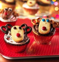 Cute Christmas Reindeer Cupcakes, 2015 Reindeer Cupcakes For Kids, Best Christmas Dessert Ideas