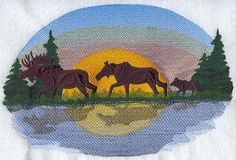 MOOSE FAMILY At DUSK Machine Embroidered Quilt by AzEmbroideryBarn, $44.95