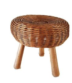 rattan stool with 3 wooden legs boho decor or plant stand  sc 1 st  Pinterest & Wood u0026 Wicker Rattan Trim Paper Dinner Plate Holders Set of 3 Brown ...