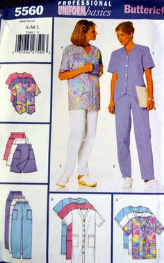 Sewing Pattern Butterick 5560 Misses' Uniforms Size S-M-L Bust 31-40 inches…
