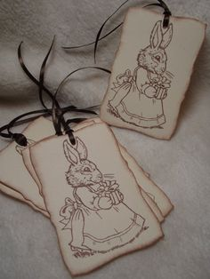 Items similar to Easter Bunny Piece Set of Very Sweet Easter Bunny Bearing Gift Vintage Inspired Scrapbooking Tags Gift and Favor Tags on Etsy Handmade Tags, Easter Bunny, Snoopy, Paper Crafts, Unique Jewelry, Sweet, Etsy, Vintage, Art