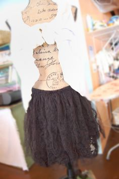 Black Tulle Skirt Altered Clothing Women Size Med Shabby Girl Boho Goth Wedding Steampunk .