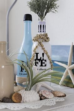 I love it when decorating is easy, and simple. Some pretty wine bottles from the grocery store inspired this super easy, and pretty summer b...