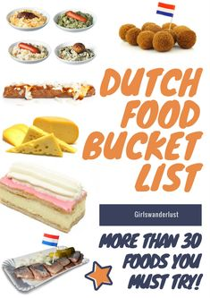 Dutch food bucket list – 30 Foods you must try in the Netherlands Recipes food and drinks list Typical Dutch Food, Traditional Dutch Recipes, Dutch Cookies, Pastry Dishes, Netherlands Food, A Food, Food And Drink, Drink Recipe Book, Sweet Dumplings