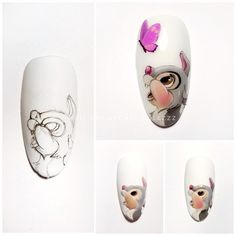 Nail art Christmas - the festive spirit on the nails. Over 70 creative ideas and tutorials - My Nails Cute Nail Art, Cute Nails, My Nails, Easter Nail Designs, New Nail Designs, Nail Art Dessin, Disney Acrylic Nails, Animal Nail Art, Easter Nails