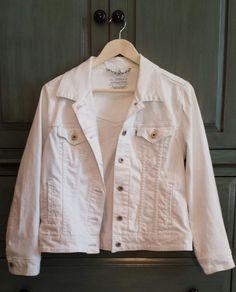 Levi's White Tab Denim Women's Size Large Stretch Trucker Button Up Pockets 90's #Levis #JeanJacket