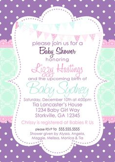 Baby Girl Shower Invitation Purple & Aqua by pickledoodledesigns, $10.00
