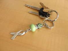 Lime Green Awareness Key Chain - Muscular Dystrophy, Lyme Disease, Non-Hodgkins Lymphoma, Duchenne Muscular Dystrophy DMD Duchenne Muscular Dystrophy, Non Hodgkins Lymphoma, Muscular Dystrophies, Defying Gravity, Lyme Disease, Awareness Ribbons, Key Rings, Key Chain, Phoenix
