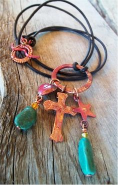 Heart of a Cowgirl™ Copper Turquoise Charm Western Necklace