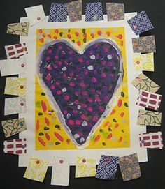 Jim Dine inspired hearts from mrs. picasso's art room