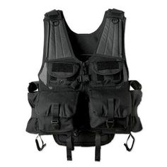 "Manufacture ID: 7702817Uncle Mike's Launcher Vest, BlackFeatures:- Hydration compatible, zippered, molded back pouch with stays- 2 specially designed pockets for launcher rounds- 2 utility chest pouches- 2 MK-9 side pouches for munitions- Drag strap and MOLLE webbing on backSpecifications:- Fits up to 72"" girth- Color: Black"