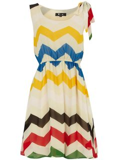 Cream zigzag chiffon dress