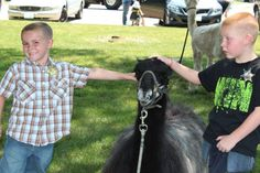 Ryne and Cale Strouss, pet a llama at Wild Bill Hickok Day in Troy Grove on Sunday.