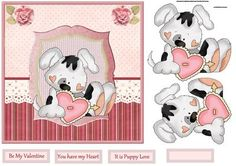 Puppy with a big heart card and decoupage on Craftsuprint designed by Angela…