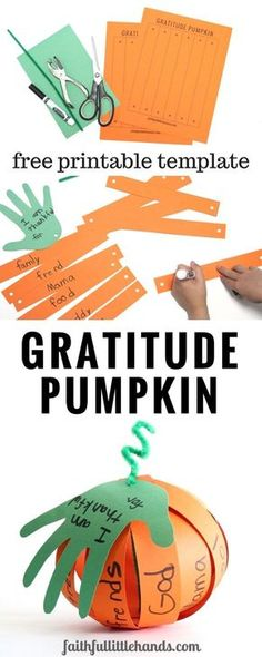 Gratitude Pumpkin Kids Thanksgiving Handprint Craft Pin
