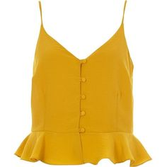 River Island Yellow peplum hem button front cami top (725 MXN) ❤ liked on Polyvore featuring tops, cami / sleeveless tops, women, yellow, sleeveless tank top, sleeveless peplum top, camisole tank top, v-neck tank and peplum top