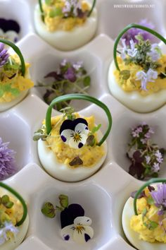 Deviled Egg Baskets with Edible Flowers | homeiswheretheboatis.net #Easter
