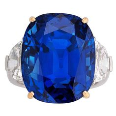 Natural 35.07 Carat GIA Cert Burma Sapphire Diamond Gold Platinum Ring   From a unique collection of vintage cocktail rings at https://www.1stdibs.com/jewelry/rings/cocktail-rings/