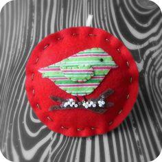 Little Stripe Bird on Red - Felt Christmas Ornament - Ready to Ship. $10.50, via Etsy.