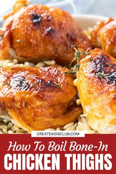 Learn how to boil chicken (bone-in thighs). This guide will show you how long to cook fresh or frozen chicken for juicy chicken to eat as is or shred. #boilchicken #howtoboilchicken #boiledchickenthighs #chickenthighrecipes #createkidsclub Bone In Chicken Thighs, Crockpot Chicken Thighs, Boneless Skinless Chicken Thighs, Chicken Thigh Recipes, Baked Chicken Recipes, Turkey Recipes, Dinner Recipes, Boil Chicken, How To Cook Chicken