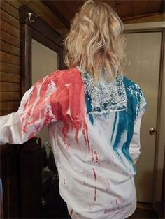 2015M Skirt Splash Painted Boyfriend Shirt with Texture $85 Size Med- Large