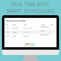 Getting your schedule straight is the key to staying organized and ensuring all of your lessons, goals, and data stays on track.Swivel is a smart scheduler as it takes your students' goals and session time and automatically creates your schedule for you, weeks and months in advance! 