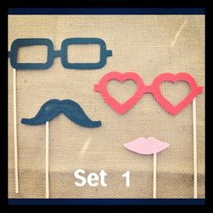 Bride photo prop, groom photo prop, geek glasses, heart glasses, mustache photo prop // perfectionate.ets...