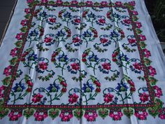romanian wool shawl Russian scarf Floral Shawl Vintage Wool scarf Gift Wool LAINE Made in Japan HAND PRINTED romanian style women by RussianshawlMayya on Etsy