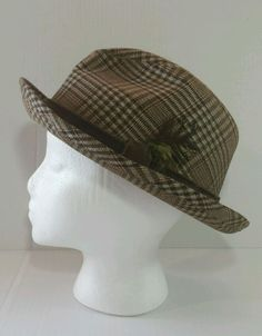 e97b7f1ee1bb3 Vintage Mens Fedora Stevens Reg Brown Plaid Hat with Feather 21