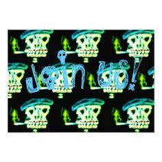 #Funny skull to smoke Halloween invitation - #halloween #invitation #cards #party #parties #invitations #card