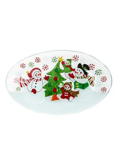 Take a look at this Tree Trimming Snowman Glass Tray by Dennis East International on #zulily today!