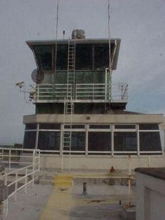 Original Control Tower Dublin Airport with extension above it.The original tower housed the met office while ground movements were handled in the extension