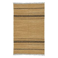 St. Croix Trading LCD2009 Leather Woven Reversible Small Rug, Black
