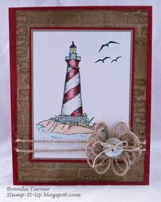 Lighthouse card.  Jute flower tutorial is in my crafts board.