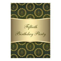 19 best elegant 50th birthday invitations images on pinterest 50th gold crest emerald womans 50th birthday party personalized invitations filmwisefo