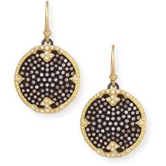 Armenta Old World Midnight Pavé Diamond Disc Earrings ($4,760) ❤ liked on Polyvore featuring jewelry, earrings, pave diamond earrings, 18k jewelry, round earrings, bezel set earrings and disc earrings