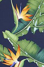 20eleu Bird of paradise flowers & banana leaves, apparel cotton, Hawaiian vintage style fabric