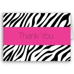 Zebra Thank You Note Card